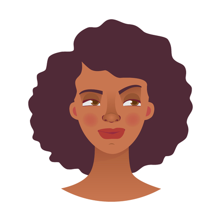 Face of African woman. Emotions of african american woman face. Facial expression illustration 写真素材