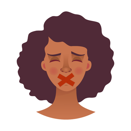 Portrait of young african american woman with mouth and lips sealed in adhesive tape. African woman with taped mouth illustration Banque d'images - 108947622
