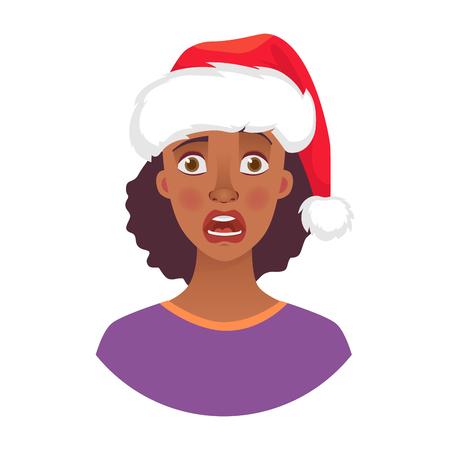 Mujer de Navidad con sombrero de santa claus. Emociones del rostro de la mujer afroamericana. Expresión facial. Ilustración de vector de niña africana