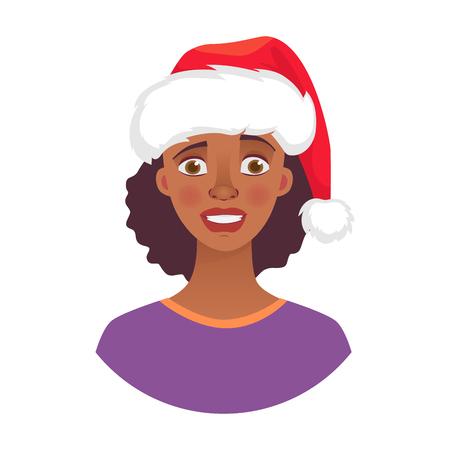 Donna di Natale in cappello di Babbo Natale. Emozioni del volto di donna afroamericana. Espressione facciale. Illustrazione vettoriale di ragazza africana