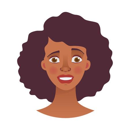 Volto di donna africana. Emozioni del volto di donna afro-americana. Illustrazione vettoriale di espressione facciale Vettoriali