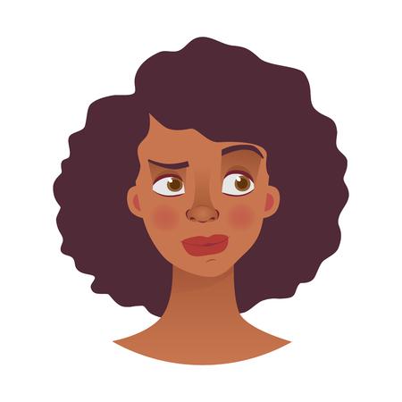 Rostro de mujer africana. Emociones del rostro de la mujer afroamericana. Ilustración de vector de expresión facial