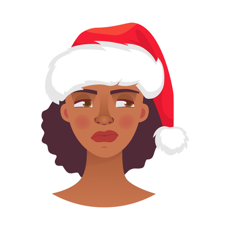 Christmas woman in santa claus hat. Emotions of african american woman face. Facial expression illustration