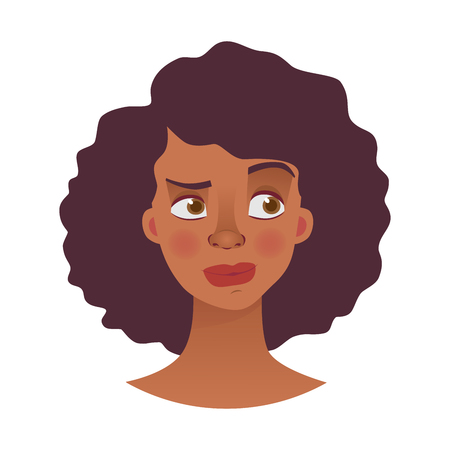 Face of African woman. Emotions of african american woman face. Facial expression illustration Stock Photo