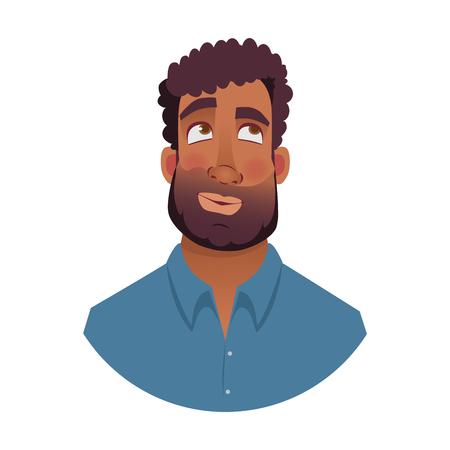 African american man. Portrait of african man illustrations. Black mans emotional face.