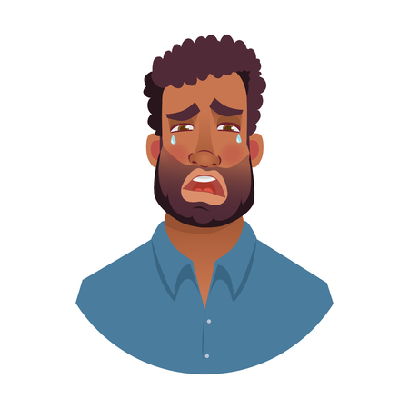 African american man. Portrait of african man illustrations. Black man's emotional face. Stockfoto