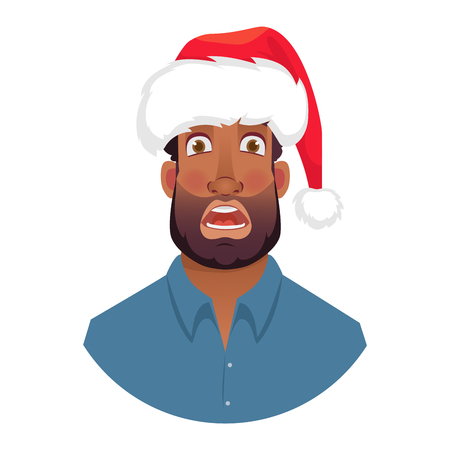 African man in a Santa Claus hat. Portrait of African american man. African american man face expression. Human emotions icon. Set of cartoon illustrations.