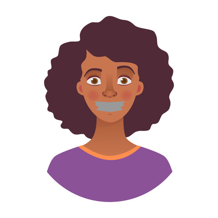 Portrait of young african american woman with mouth and lips sealed in adhesive tape. African woman with taped mouth illustration Banque d'images - 109646044