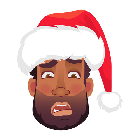 Head of African man in a Santa Claus hat. African american man face expression. Human emotions icon. Set of cartoon illustrations.