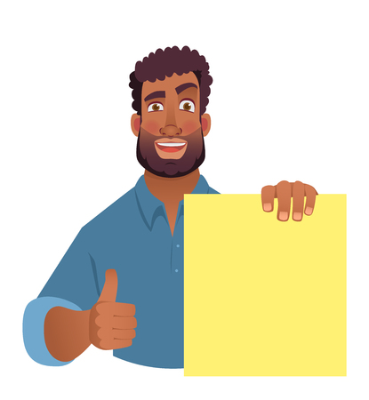 African man holding blank banner. African american man with board. Thumbs up vector illustration
