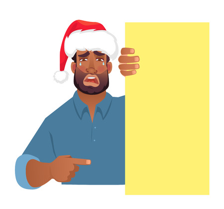 African man in christmas hat holding blank banner. African american man with board. Finger pointing vector illustration