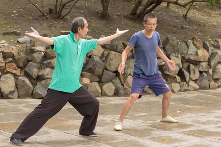 Harbin, Heilongjiang, China - September 2018: Young asian men practicing wushu on the park Editöryel