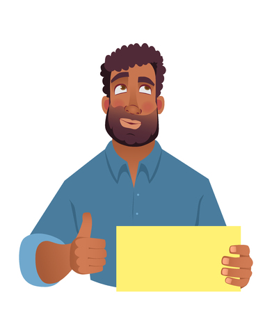 African man holding blank card. African american man with thumbs up. Vector illustration Vettoriali