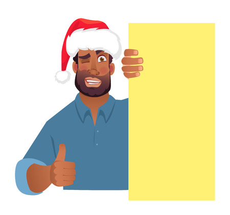 African man in christmas hat holding blank banner. African american man with board. Thumbs up vector illustration