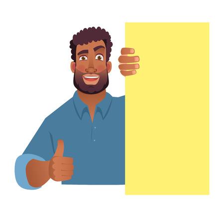 Homme africain tenant une bannière vierge. Homme afro-américain avec planche. Thumbs up illustration vectorielle