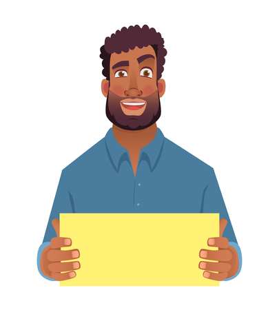 African man holding blank card. Afro american man with sign. Vector illustration Ilustração Vetorial