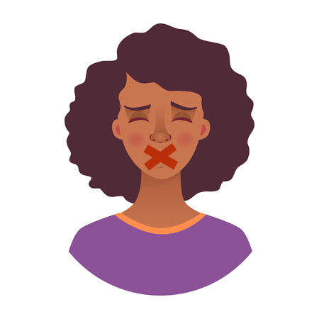 Portrait of young african american woman with mouth and lips sealed in adhesive tape. African woman with taped mouth illustration Banque d'images - 110127620