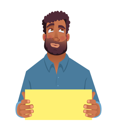 African man holding blank card. Afro american man with sign. Illustration Stock Photo