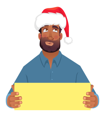African man in hat holding blank card. Afro american man with board. Illustration Stock Illustration - 110127842