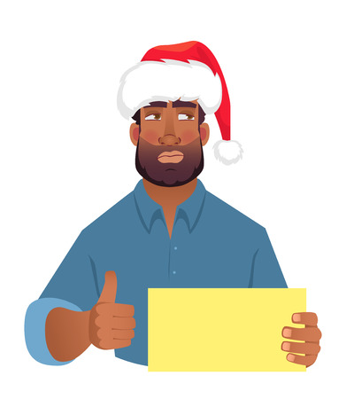 African man in christmas hat holding blank card. African american man with thumbs up. illustration