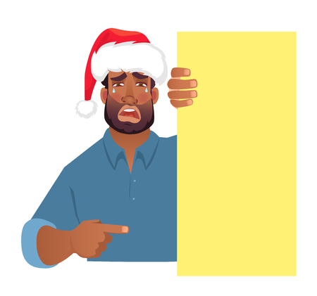 African man in christmas hat holding blank banner. African american man with board. Finger pointing illustration