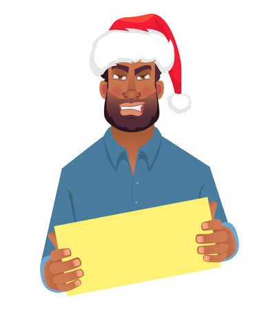 African man in hat holding blank card. African american man with board. Illustration Stok Fotoğraf