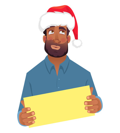 African man in hat holding blank card. African american man with board. Illustration Stock Photo
