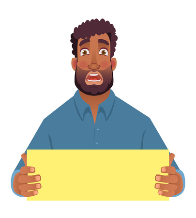 African man holding blank card. Afro american man with board. Illustration