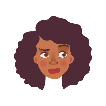 Face of African woman. Emotions of african american woman face. Facial expression vector illustration Stock Vector - 110628131
