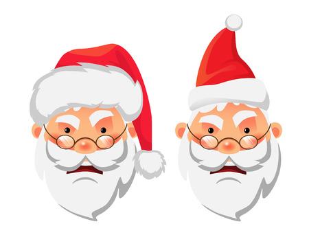 Santa Claus icon. santa claus head in christmas hat. Illustration 스톡 콘텐츠