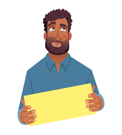 African man holding blank card. African american man with board. Illustration Archivio Fotografico - 111703732