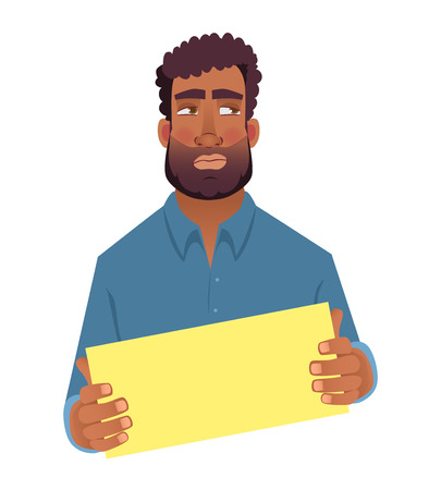 African man holding blank card. African american man with board. Illustration