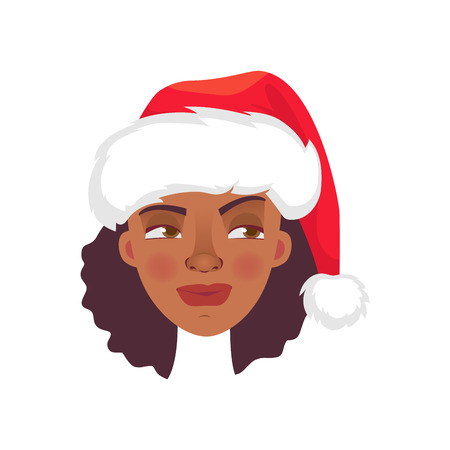 Face of African woman in christmas hat. Emotions of african american woman face. Facial expression vector illustration