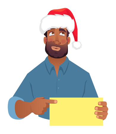 African man in christmas hat holding blank card. African american man pointing finger at card. illustration Stock Illustration - 111703427