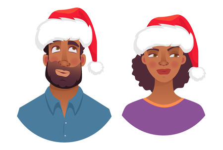 Portrait of african man and woman in christmas hat. Emotions of african american woman face. Facial expression men vector illustration
