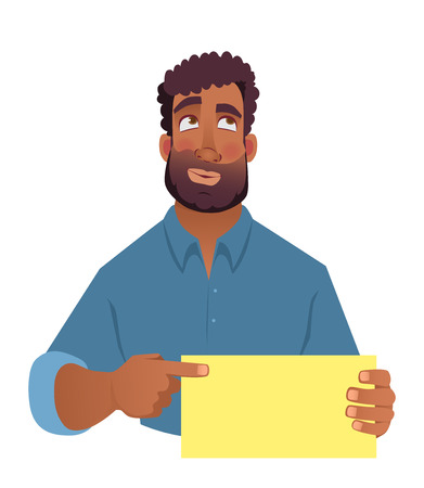 African man holding blank card. African american man pointing finger at card. illustration Archivio Fotografico - 111703385