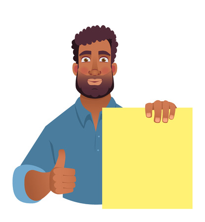 African man holding blank banner. African american man with board. Thumbs up illustration Stockfoto