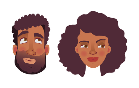 Face of African man and woman. Emotions of african american woman face. Facial expression men  illustration 写真素材