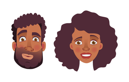 Face of African man and woman. Emotions of african american woman face. Facial expression men  illustration Imagens