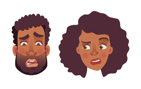 Face of African man and woman. Emotions of african american woman face. Facial expression men  illustration Stock Photo