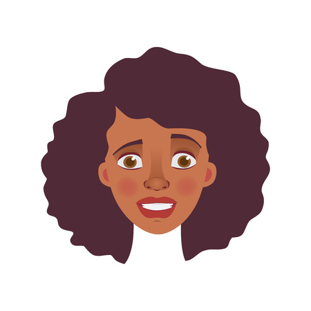 Face of African woman. Emotions of african american woman face. Facial expression  illustration