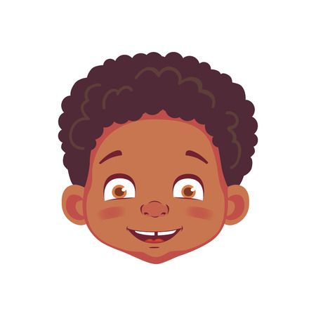 Face of African boy. Emotions of african american boy. Facial expression. Face vector illustration