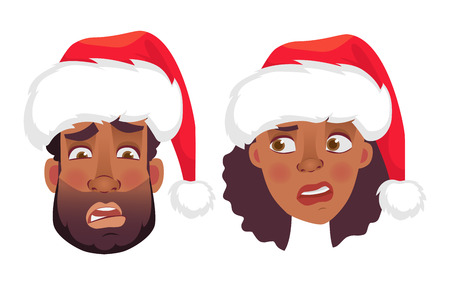 Face of African man and woman in christmas hat. Emotions of african american woman face. Facial expression men illustration