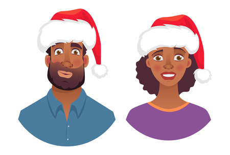 Portrait of african man and woman in christmas hat. Emotions of african american woman face. Facial expression men  illustration