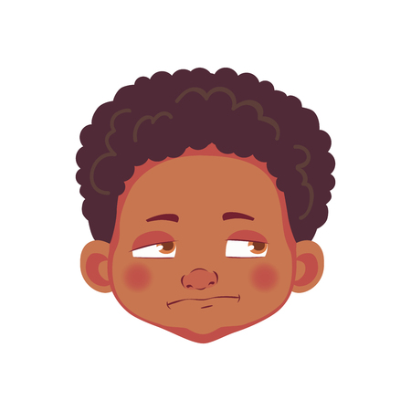 Face of African boy. Emotions of african american boy. Facial expression. Face illustration
