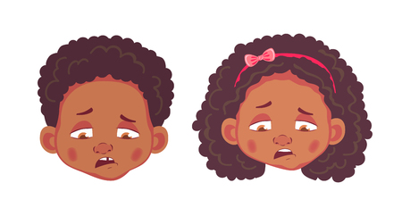 Face of African boy and girl. Emotions of african american boy and girl. Facial expression. Face vector illustration