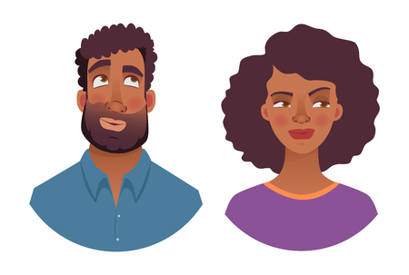 Portrait of african man and woman. Emotions of african american woman face. Facial expression men  illustration