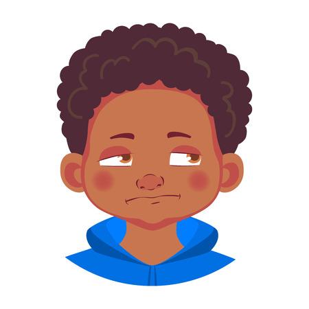 African american boy icon. Portrait of african boy illustrations