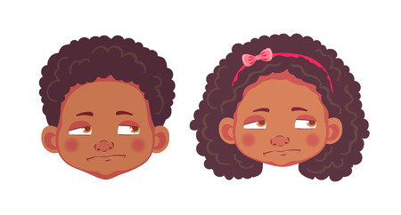 Face of African boy and girl. Emotions of african american boy and girl. Facial expression. Face illustration