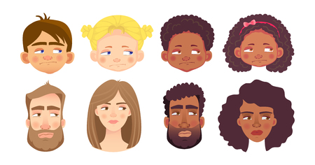 Emotions of human face set. Facial expression. Avatar vector illustration